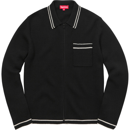 Zip Up Polo Sweater (Black)