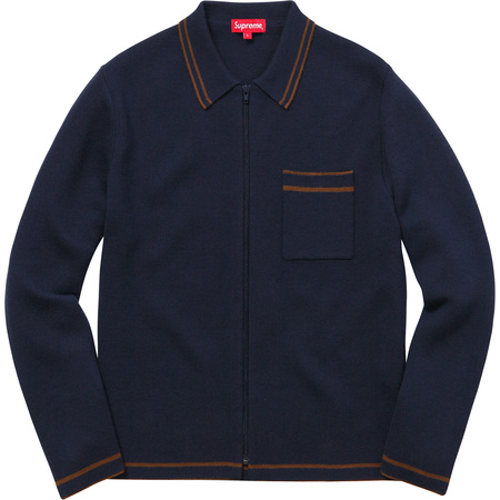Zip Up Polo Sweater (Navy)