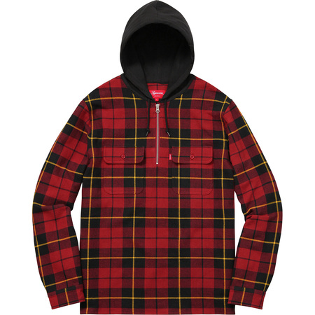 Hooded Plaid Half Zip Shirt (Red)