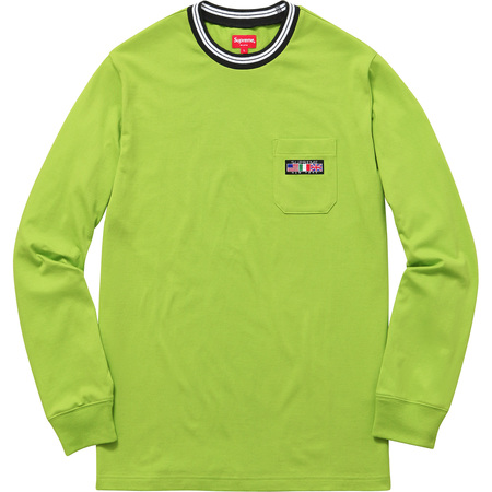 Flags L/S Pocket Tee (Lime Green)