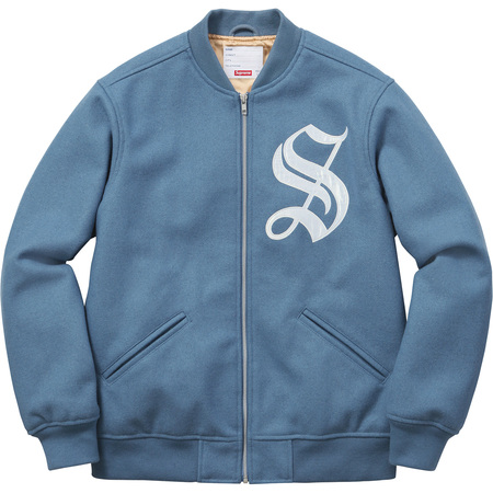 Old English Zip Varsity Jacket (Dusty Blue)