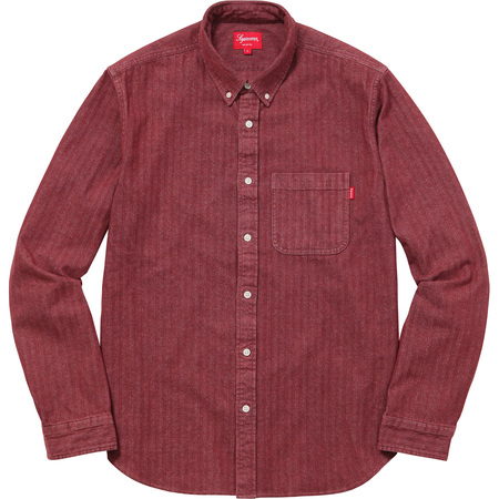 Herringbone Denim Shirt (Burgundy)