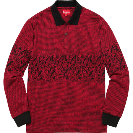 Paisley L/S Polo (Red)