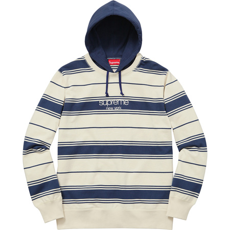 Striped Hooded Crewneck (Navy)
