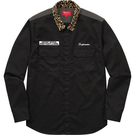 Leopard Collar Work Shirt (Black)