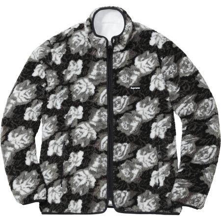 Roses Sherpa Fleece Reversible Jacket (Black)