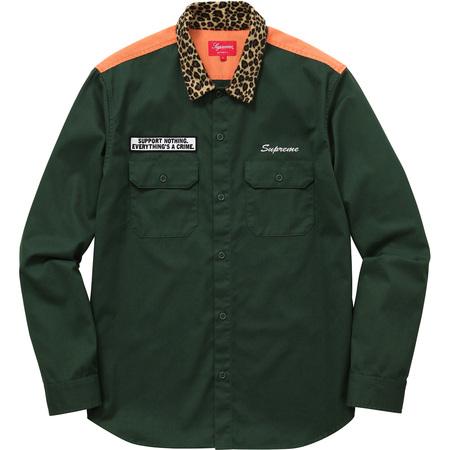 Leopard Collar Work Shirt (Green)