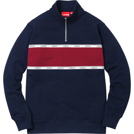 Logo Tape Stripe Half Zip Sweat (Navy)