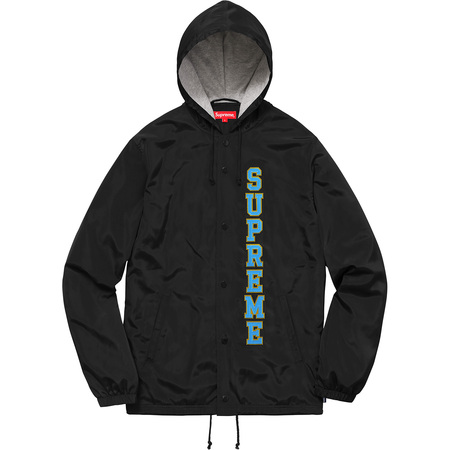 Vertical Logo Hooded Coaches Jacket (Black)