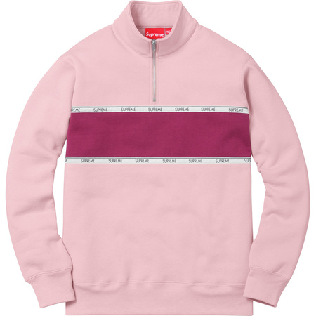 Logo Tape Stripe Half Zip Sweat (Dusty Pink)
