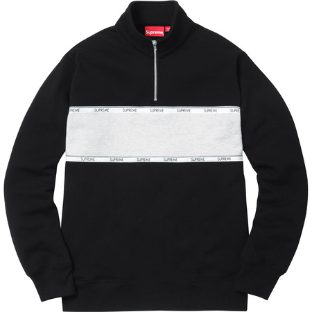 Logo Tape Stripe Half Zip Sweat (Black)