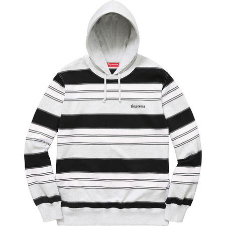 Striped Hooded Crewneck (Ash Grey)