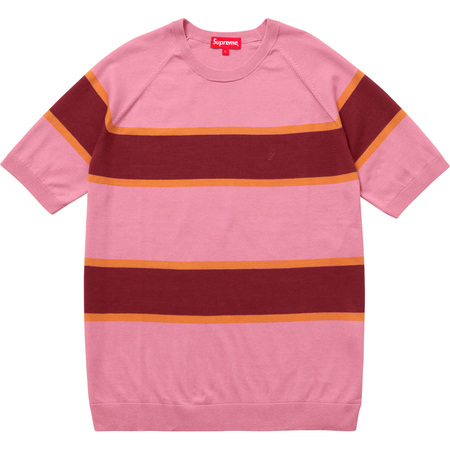 Knit Stripe S/S Raglan Top (Pink)