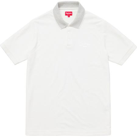 Striped Collar Terry Polo (White)