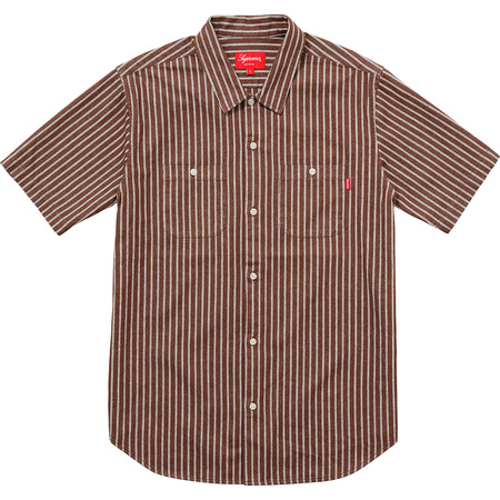 Stripe Denim S/S Shirt (Brown)