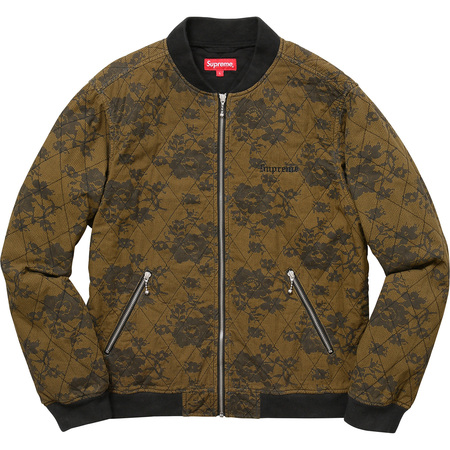 Quilted Lace Bomber Jacket (Dark Gold)