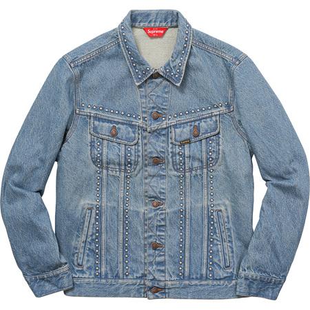 Studded Denim Trucker Jacket (Blue)