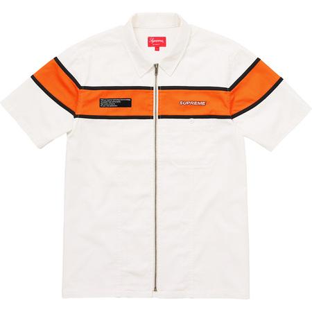 S/S Zip Up Work Shirt (White)