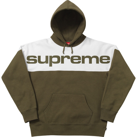 Blocked Hooded Sweatshirt (Dark Olive)