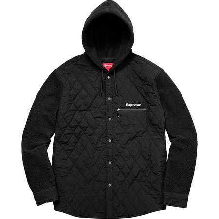 Hooded Fleece Nylon Shirt (Black)
