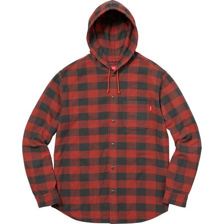 Hooded Buffalo Plaid Flannel Shirt (Red)