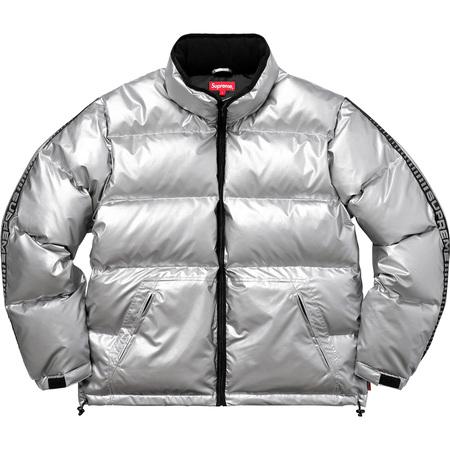 Reflective Sleeve Logo Puffy Jacket (Silver)