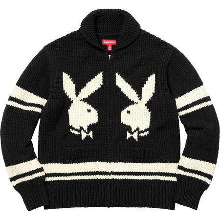 Supreme®/Playboy© Shawl Collar Full Zip Sweater (Black)