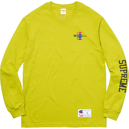Supreme®/Champion® Stacked C L/S Tee (Bright Green)