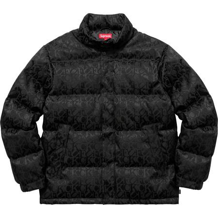 Fuck Jacquard Puffy Jacket (Black)