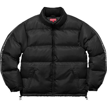 Reflective Sleeve Logo Puffy Jacket (Black)