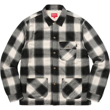 Buffalo Plaid Sherpa Lined Chore Shirt (Natural)