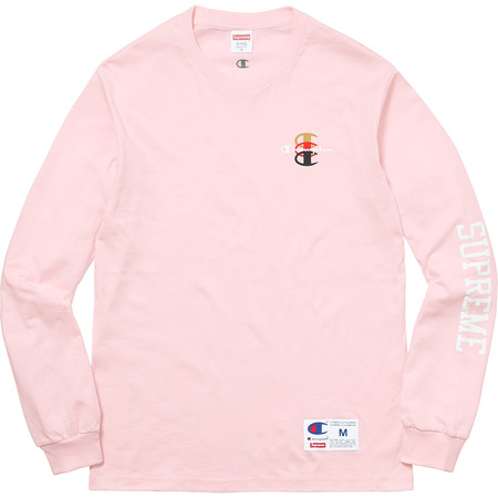 Supreme®/Champion® Stacked C L/S Tee (Light Pink)