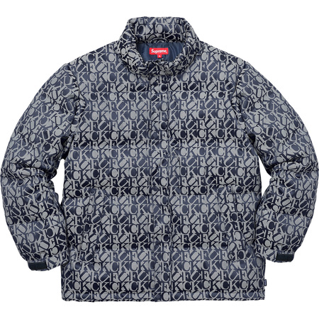Fuck Jacquard Puffy Jacket (Navy)