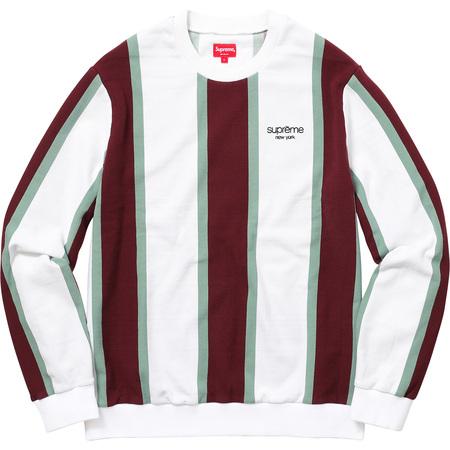 Vertical Striped Pique Crewneck (White)