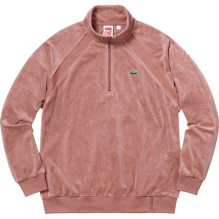 Supreme®/LACOSTE Velour Half-Zip Track Top (Light Maroon)