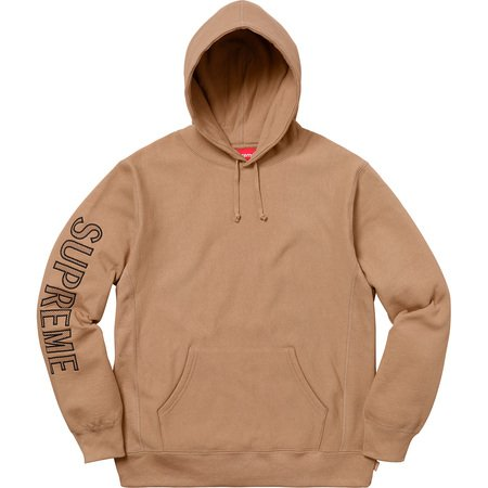 Sleeve Embroidery Hooded Sweatshirt (Light Brown)