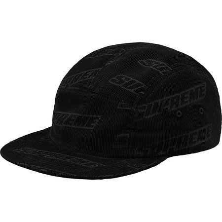 Debossed Corduroy Camp Cap (Black)