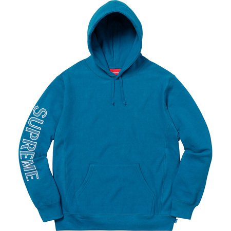 Sleeve Embroidery Hooded Sweatshirt (Dark Aqua)