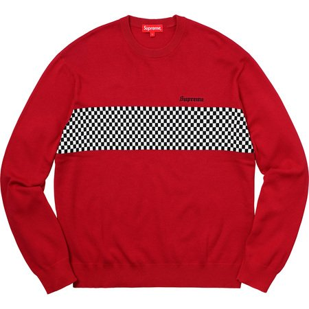 Checkered Panel Crewneck Sweater (Red)