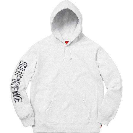 Sleeve Embroidery Hooded Sweatshirt (Ash Grey)