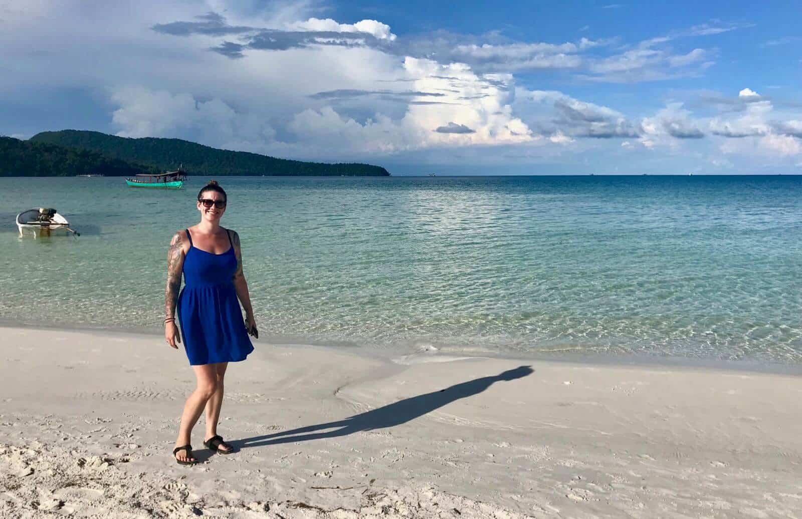 betternotstop Hannah Koh Rong Sanloem beach time blue dress