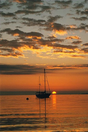 Sailboat and Sunrise - Too Far Away