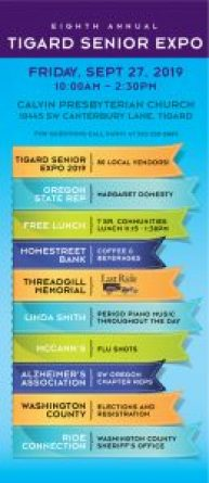Tigard Senior Expo infographic blue, orange, green