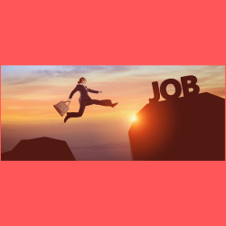 woman jumping from 1 rock to another rock with JOB on it