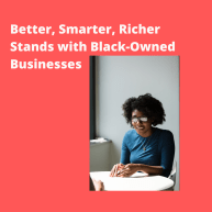 Photo of Black Woman at a table, on red background