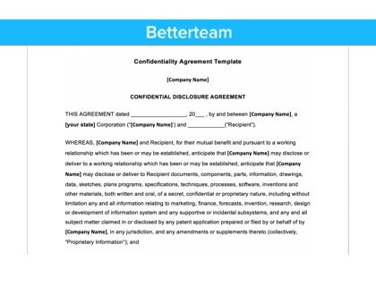 Generic confidentiality agreement for Secrecy agreement template
