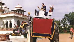Ginsburg and Scalia ride an elephant in India in 1994.
