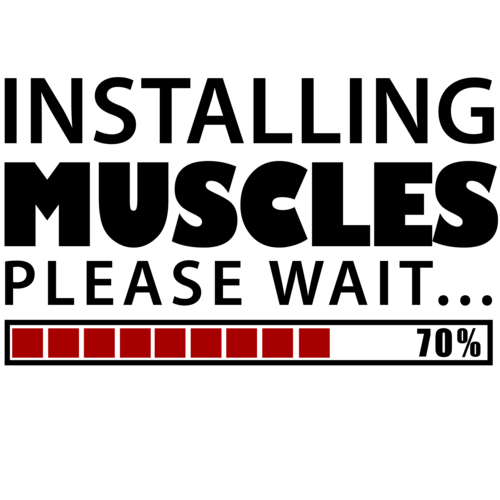 Installing Muscles. Please Wait. Funny Work Out T-Shirt shirt