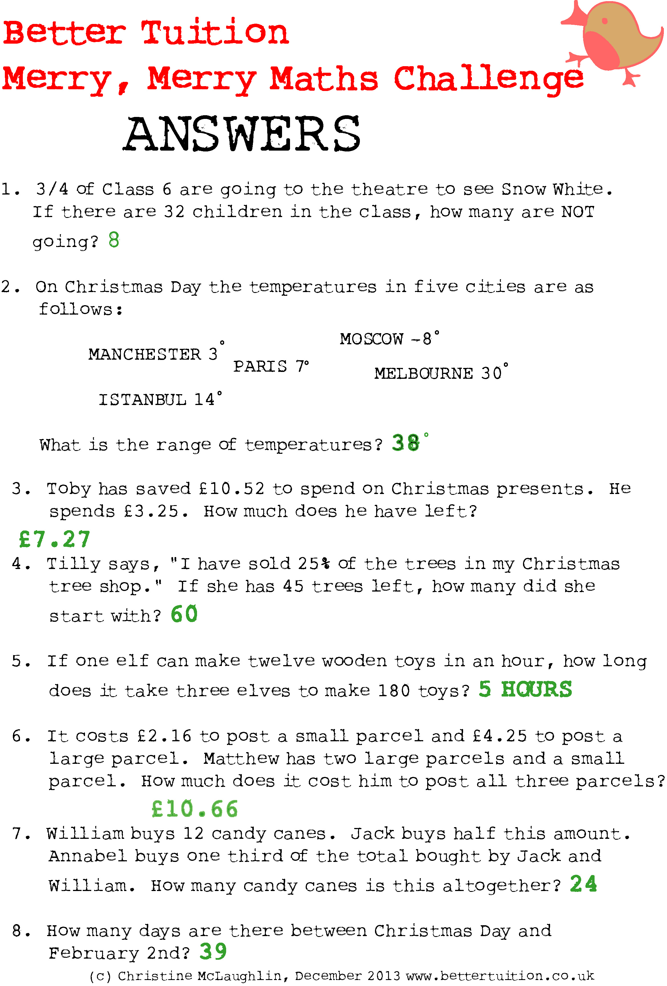 Christmas Maths Problems Answers