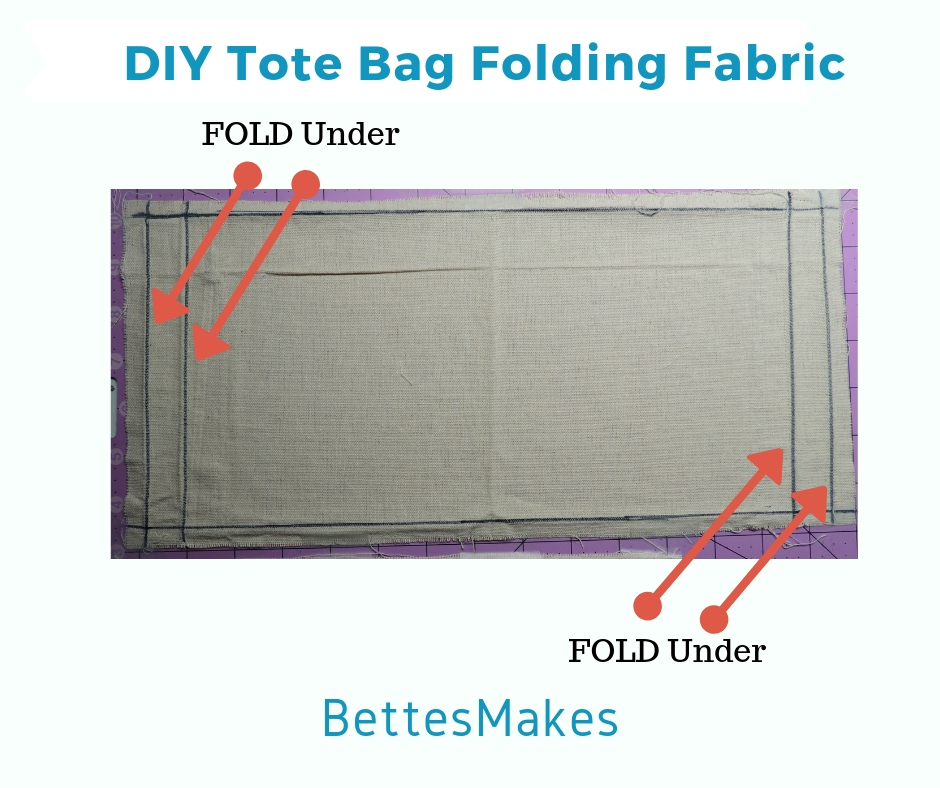 Folding top edge in a DIY Tote Bag